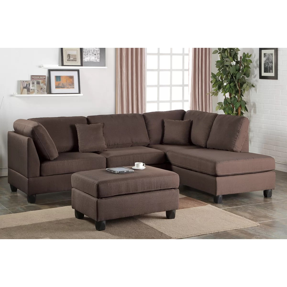reversible sectional sofa chaise wayfair side tables poundex bobkona dervon