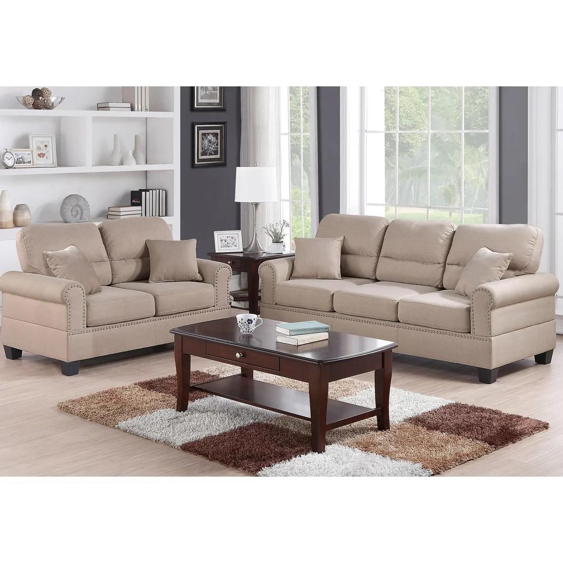 bobkona sofa set big pillows for sofas poundex shelton and loveseat reviews