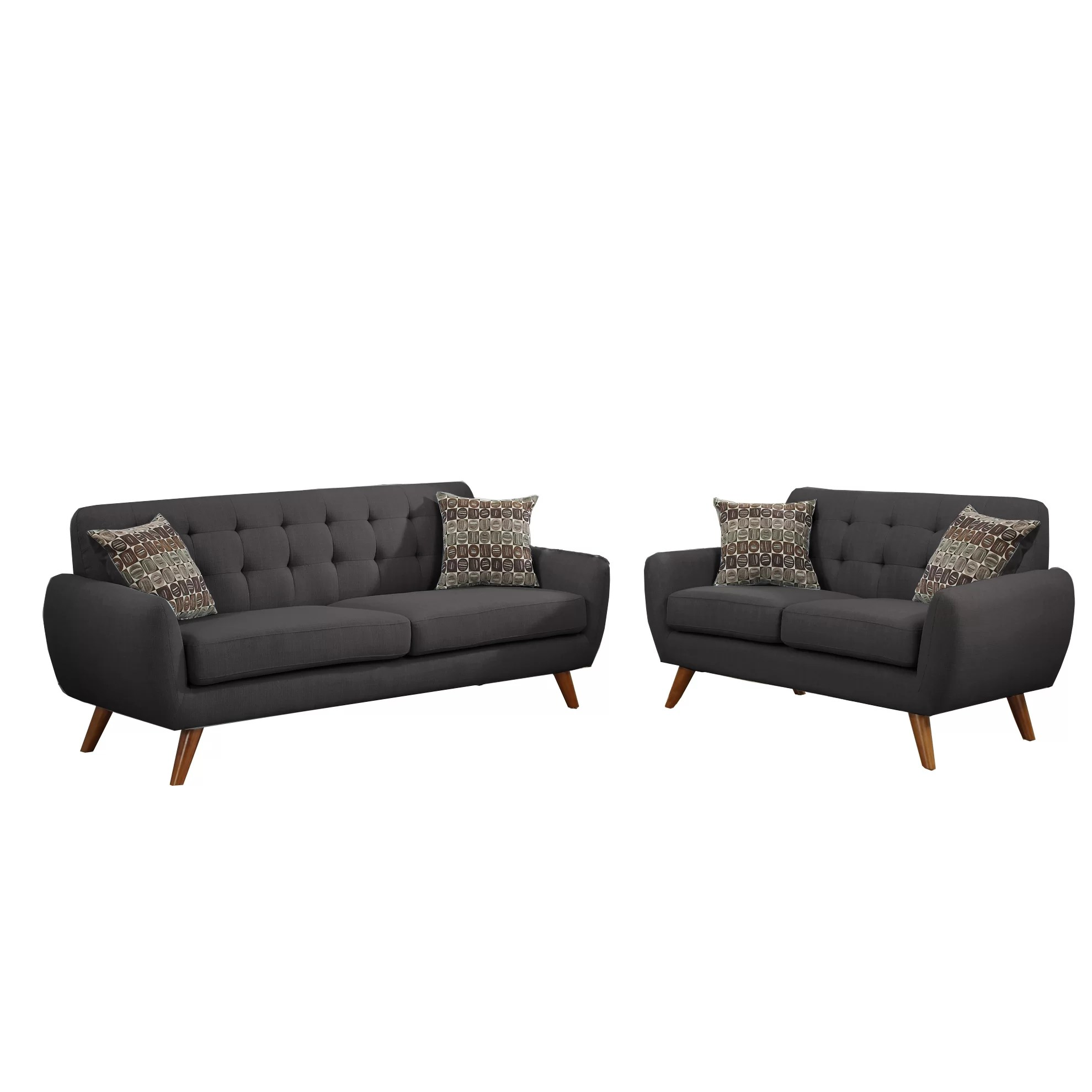 parker 2 piece sofa and loveseat in brown sofas that turn into beds poundex bobkona sonya set