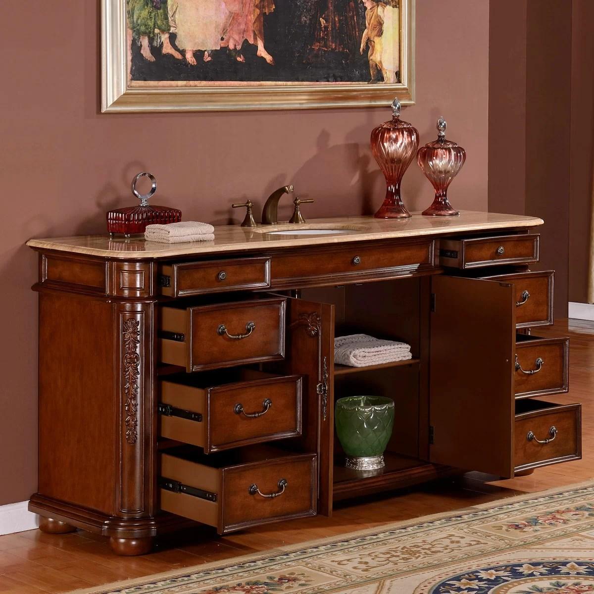 """Silkroad Exclusive 72"""" Single Sink Cabinet Bathroom Vanity"""