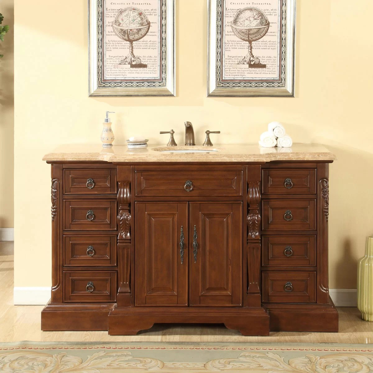 Silkroad Exclusive 60 Single Sink Bathroom Vanity Set