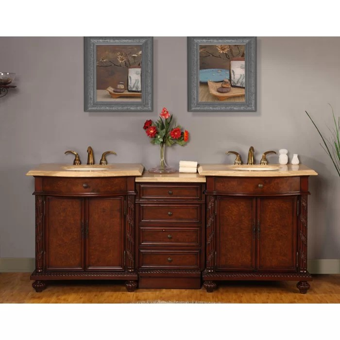 Silkroad Exclusive Victoria 84 Double Bathroom Vanity Set