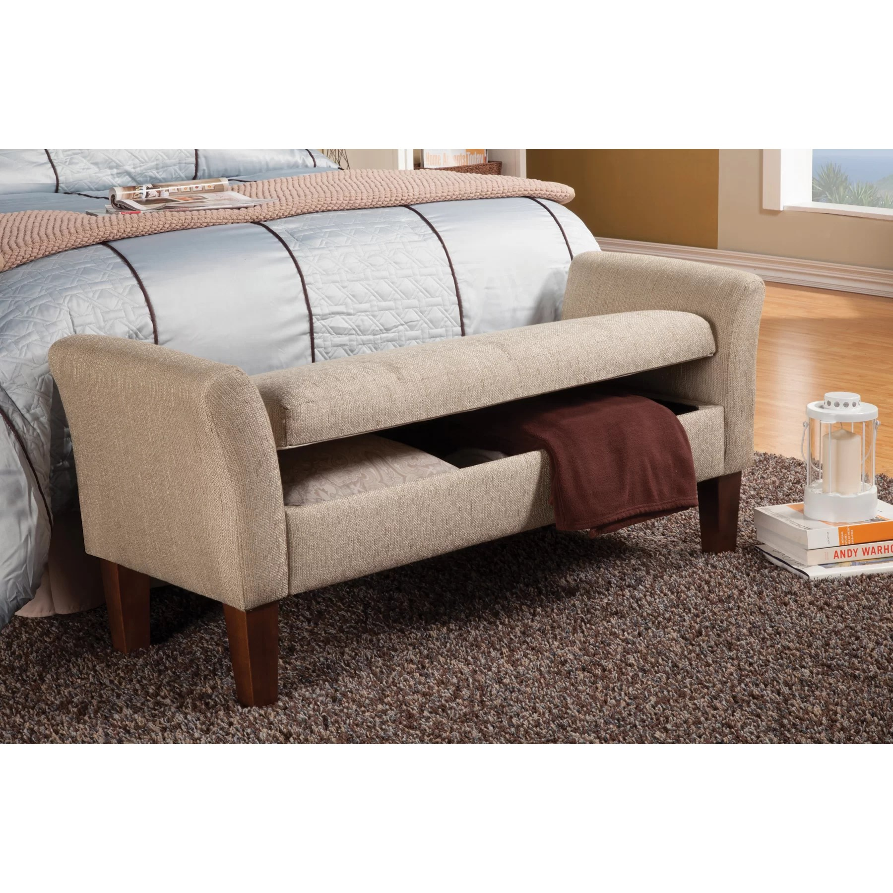 Wildon Home  Upholstered Storage Bedroom Bench  Reviews