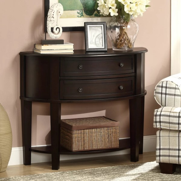 Wood Entryway Console Table with Drawers