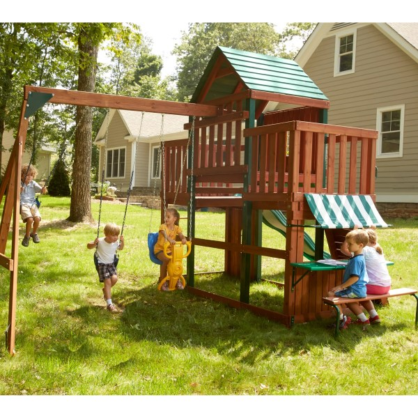 Swing-slide Winchester Wood Complete Swing Set &