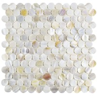 "EliteTile Shore 1"" x 1"" Seashell Mosaic Tile in White"