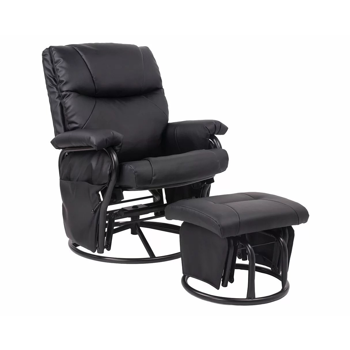 rocking chair and ottoman set wall hugger leather recliner chairs merax ergonomic swivel glider