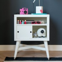 DwellStudio Mid-Century French White Nightstand & Reviews ...