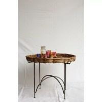 Creative Co-Op Morocco Round Arurog Tray Table   Wayfair