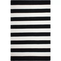 Fab Rugs Nantucket Striped Black/White Indoor/Outdoor Area