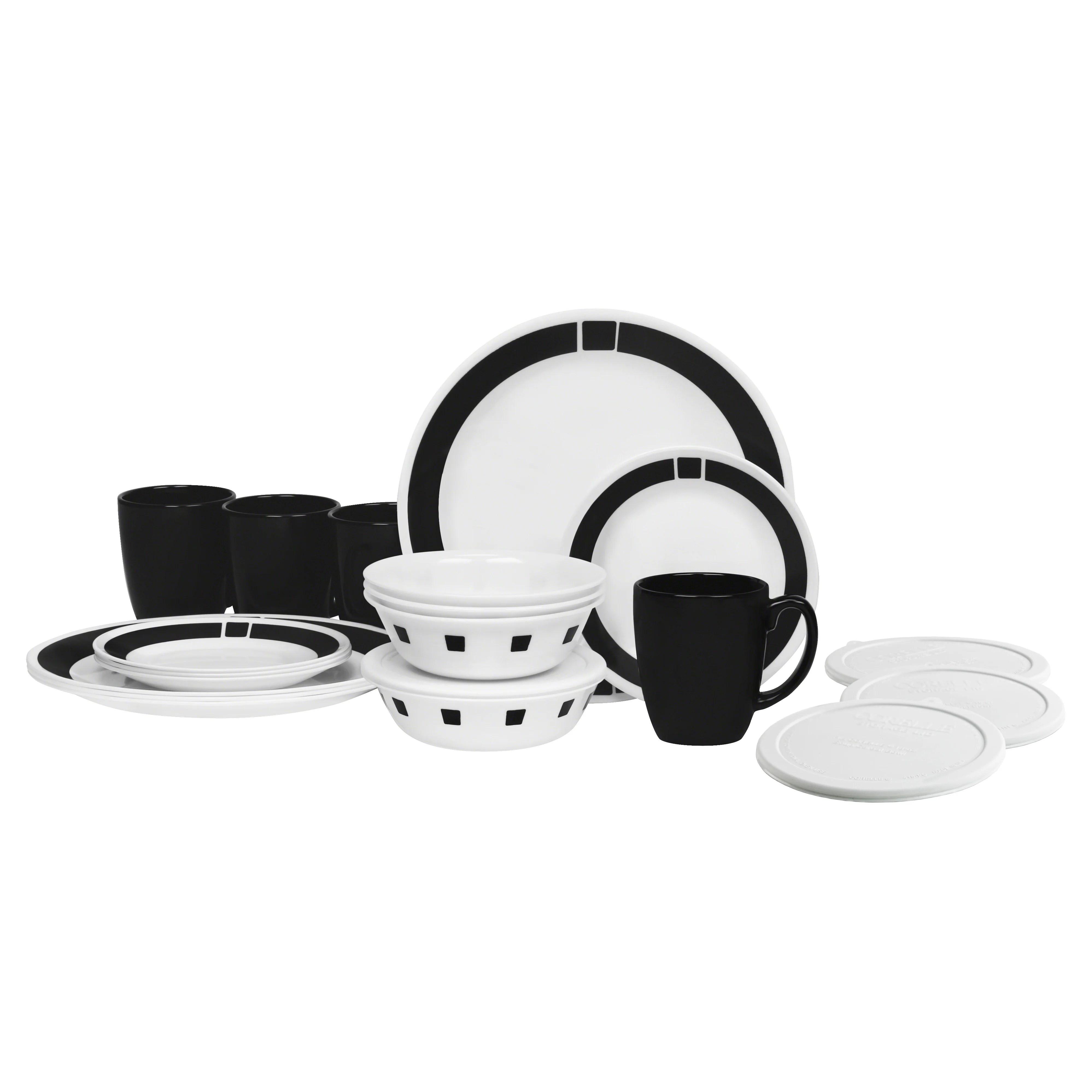 Corelle Livingware Urban Black 20 Piece Dinnerware Set