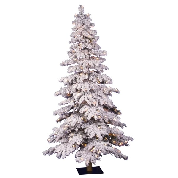 Vickerman Flocked Spruce Alpine 639 White Artificial