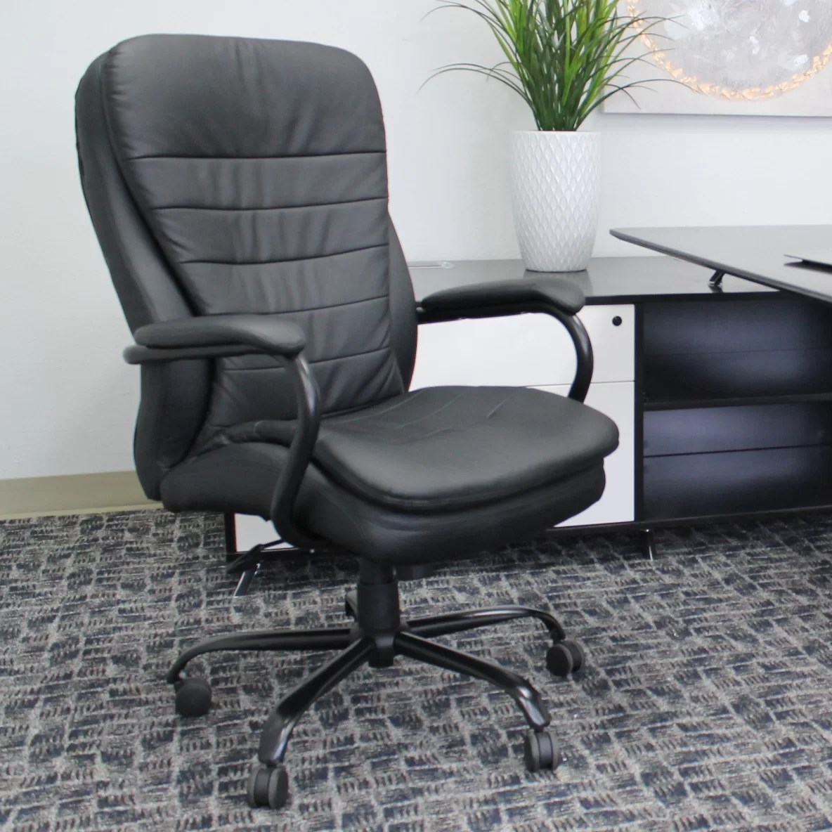 Plush Office Chair Boss Office Products Adjustable High Back Plush Executive