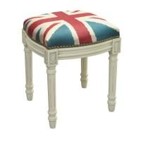 123 Creations Britannia Linen Upholstered Vanity Stool ...