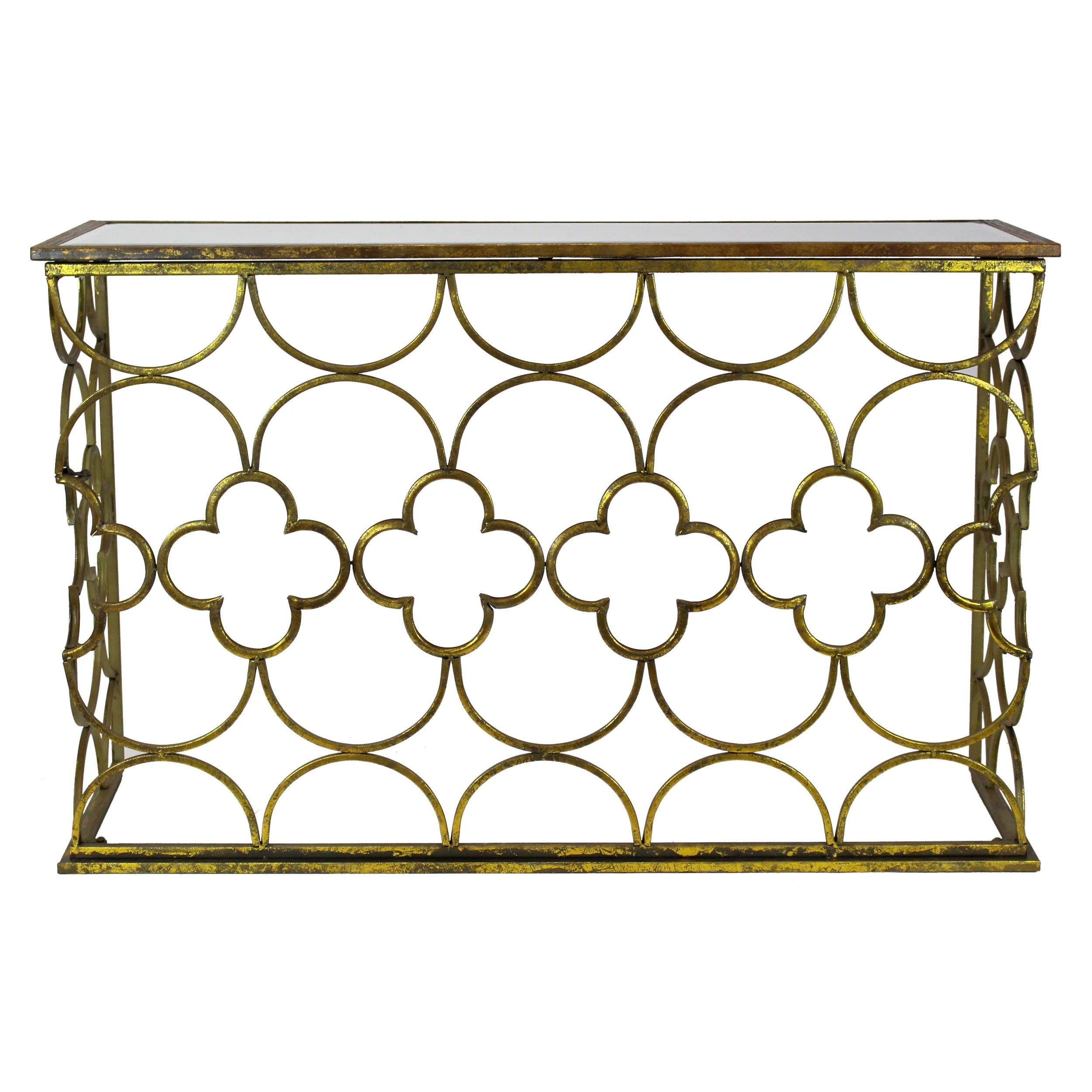 gold glass sofa table cushion covers made to measure aspire myra console and reviews wayfair