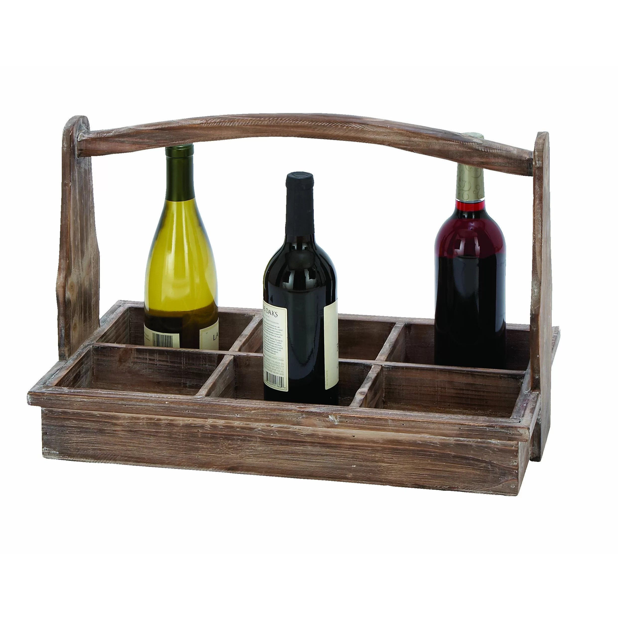 6 Bottle Wooden Wine Rack Woodland Imports 6 Bottle Tabletop Wine Rack & Reviews