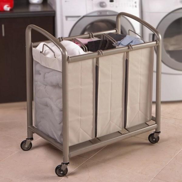 Seville Classics 3 Bag Slanted Handle Laundry Sorter
