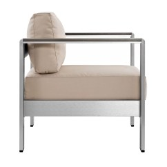 One Piece Patio Chair Cushions Two Seat Table And Chairs Modway Shore 3 Outdoor Aluminum Sectional