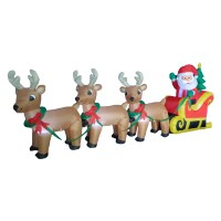 BZB Goods Christmas Inflatable Santa Claus on Sleigh Sled ...