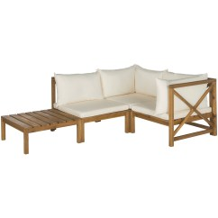 Outdoor Wooden Sofa Uk White Bonded Leather Bed Safavieh Rigby 3 Seater Set With Cushions Wayfair