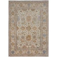 ECARPETGALLERY Royal Ushak Hand-Knotted Cream Area Rug ...