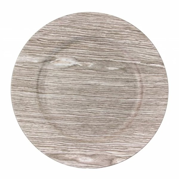 """Koyal 13"""" Faux Wood Charger Plate &"""