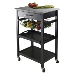 Marble Top Kitchen Cart Round Glass Table Sets Winsome Julia With Granite And Reviews