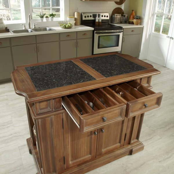 Home Styles Americana Kitchen Island With Granite Top &