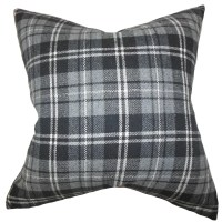 The Pillow Collection Baxley Plaid Wool Throw Pillow ...