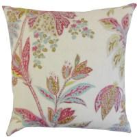 The Pillow Collection Taja Floral Linen Throw Pillow ...