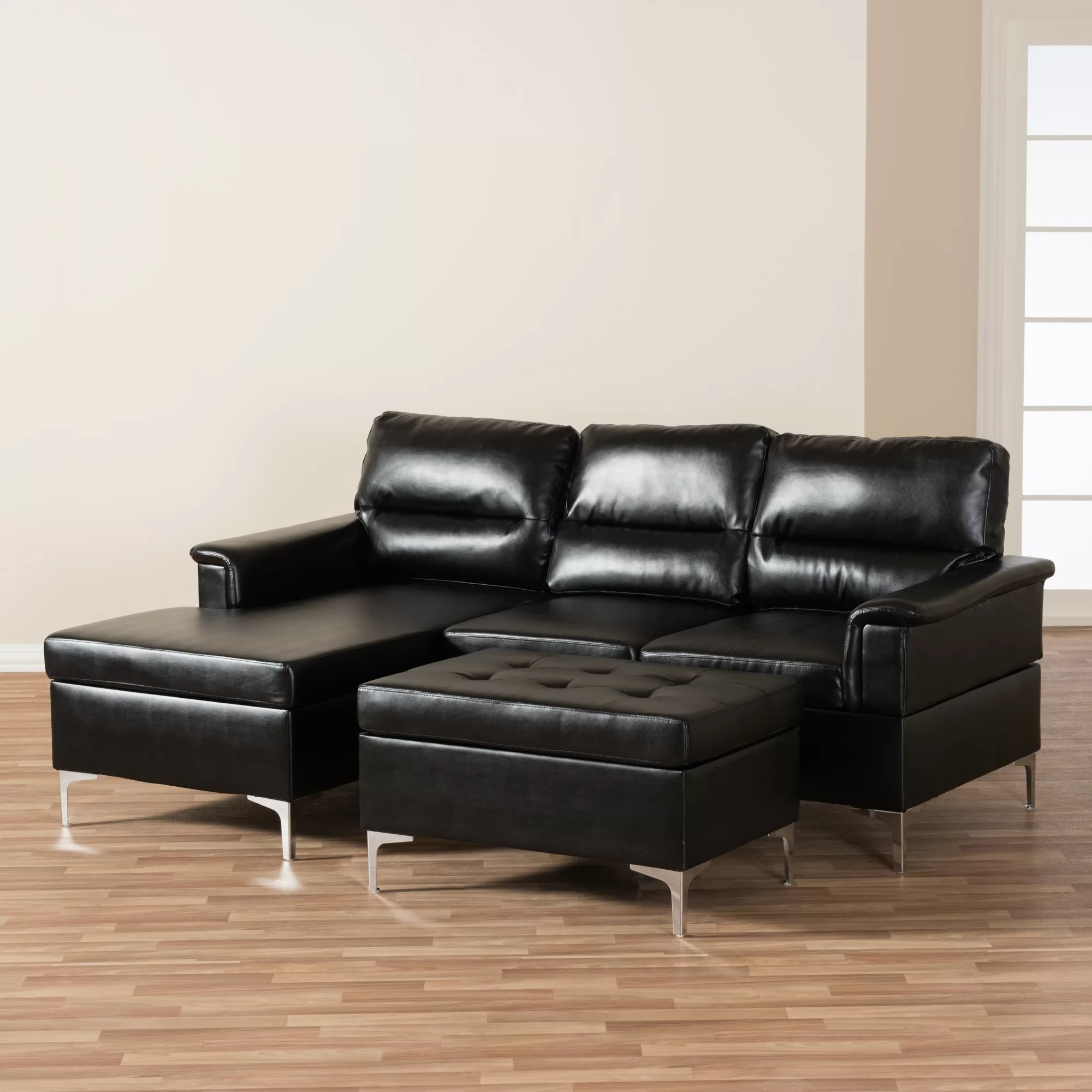 cheap faux leather sofa sets modern wood set wholesale interiors baxton studio teresa sectional