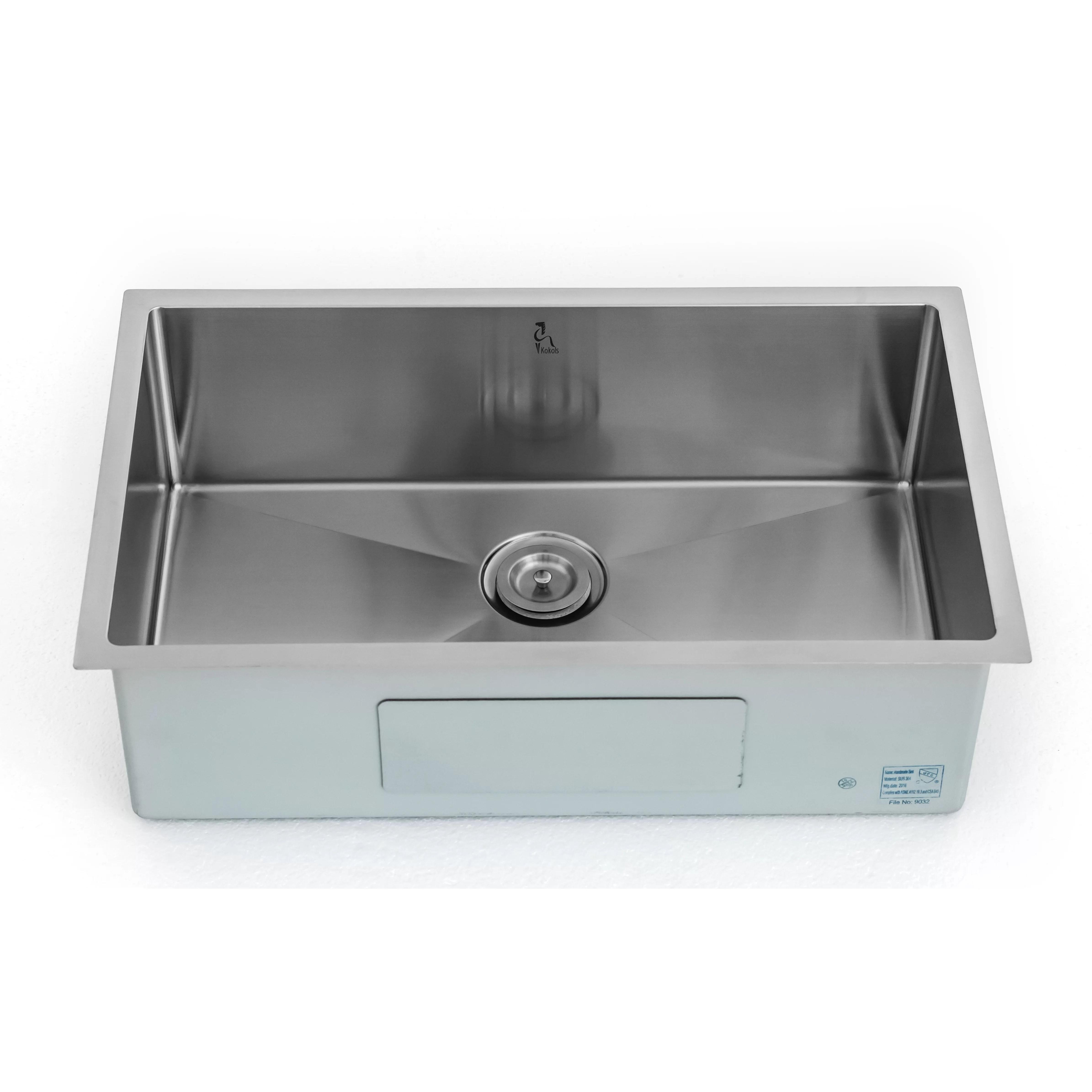 single bowl kitchen sinks commercial hood kokols 30 quot x 18 undermount sink wayfair