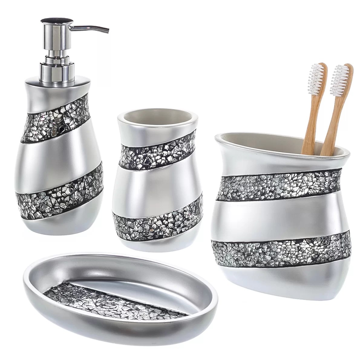 Creative Scents 4 Piece Mosaic Glass Bathroom Accessory