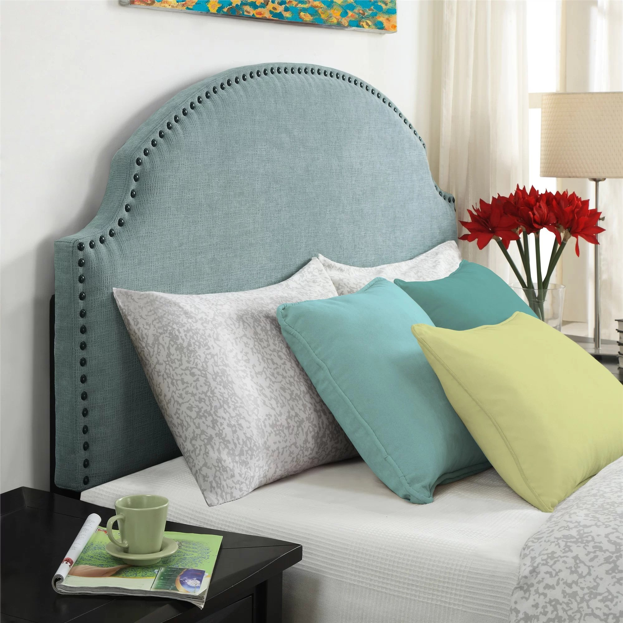 tufted queen blue upholstered crystal buttons and headboard white navy size