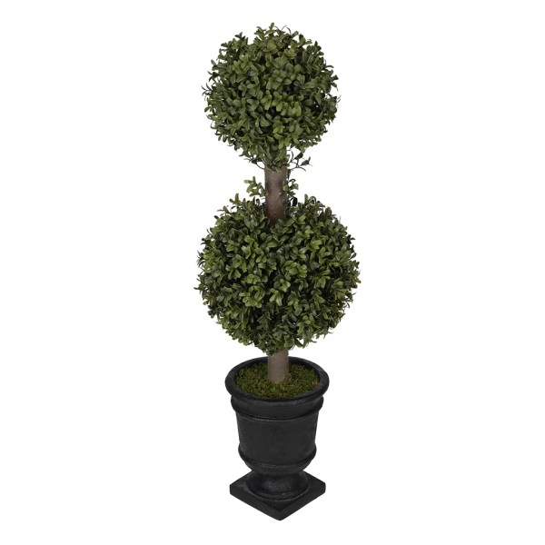 Boxwood Ball Artificial Topiary with Flowers