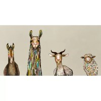 GreenBox Art 'Donkey, Llama, Goat, Sheep on Cream' by Eli ...