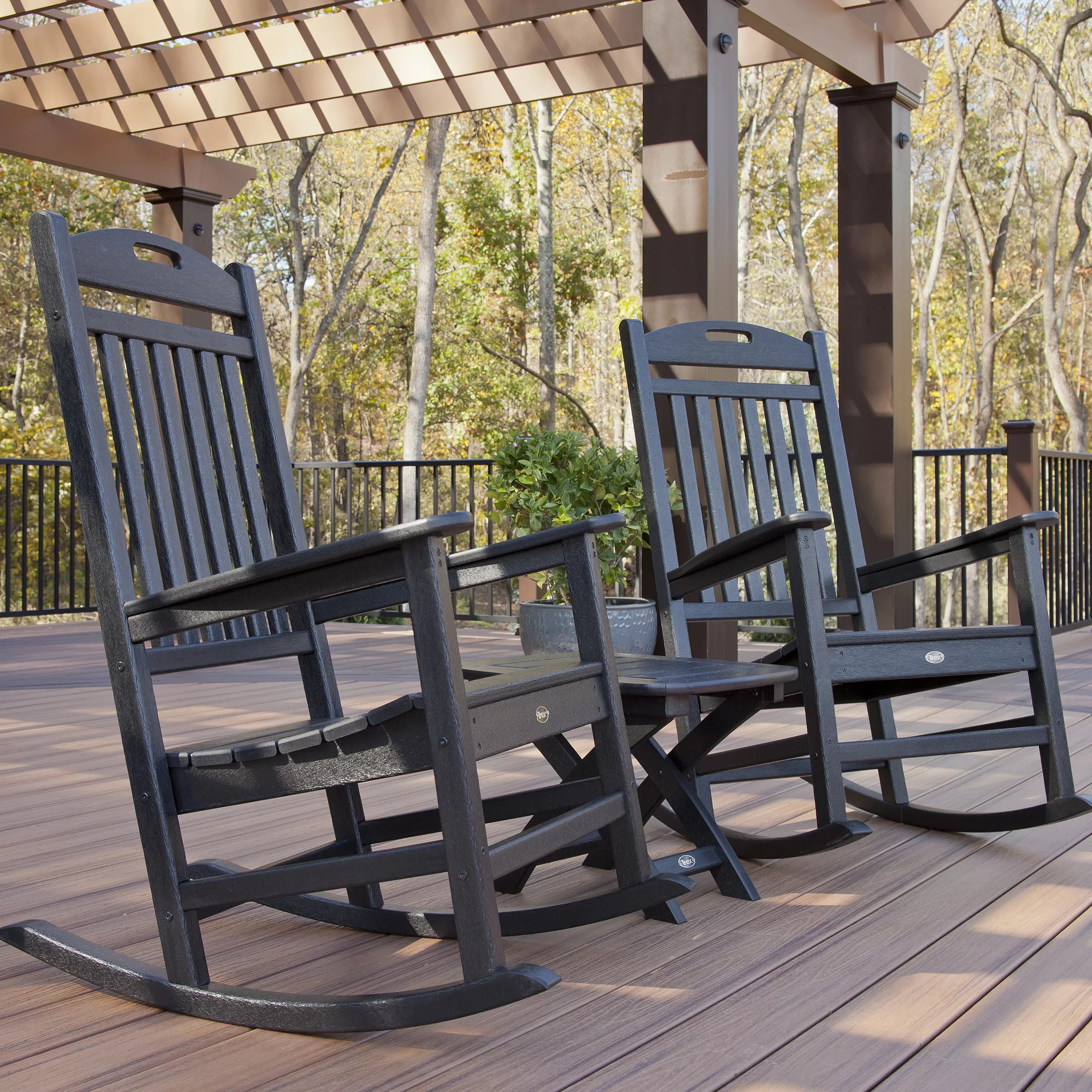Trex Rocking Chairs Trex Trex Outdoor Yacht Club 3 Piece Rocker Set And Reviews