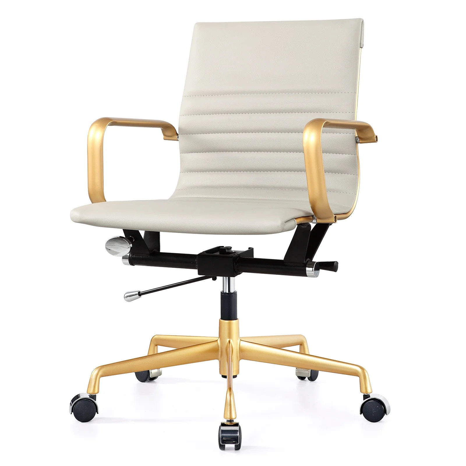 Office Chair With Arms Meelano Vegan Leather Mid Back Office Chair With Arms