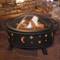 Pure Garden Star and Moon Steel Wood Fire Pit & Reviews ...