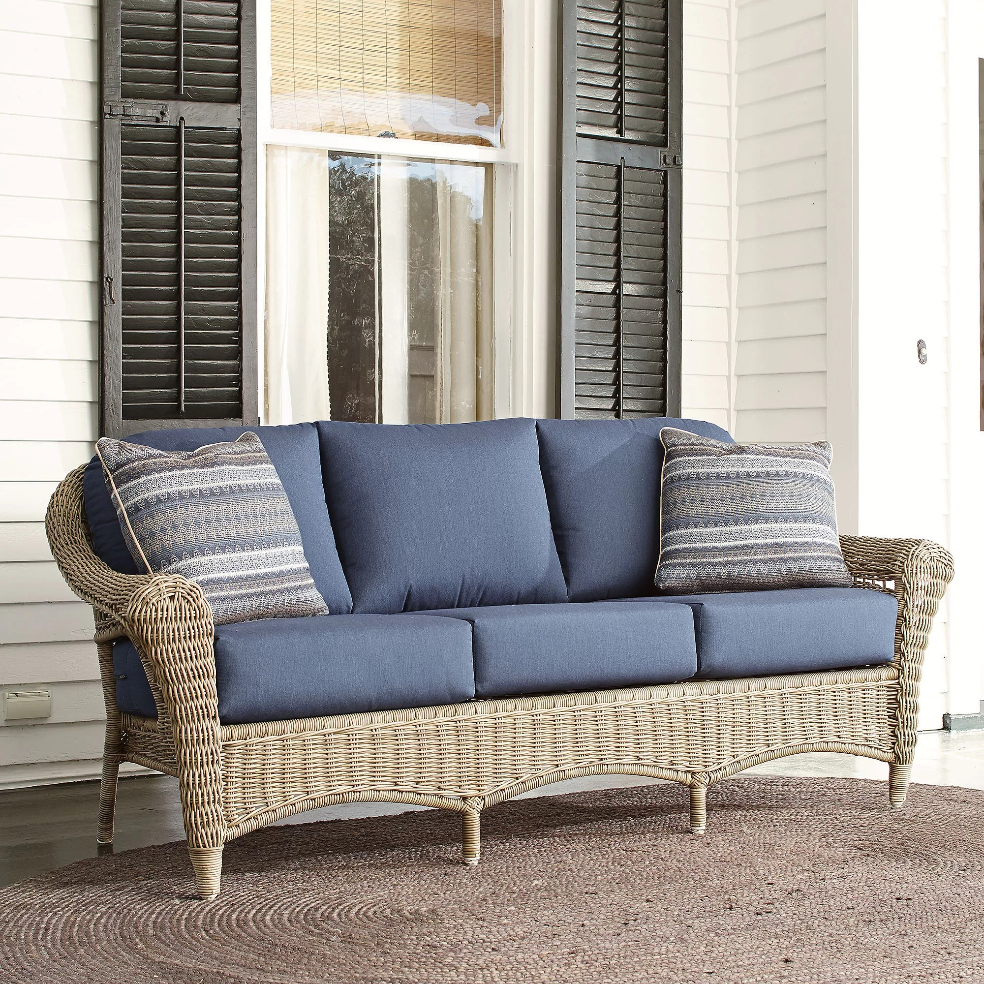 sunbrella sofa cushions small sofas for rooms australia birch lane lynwood wicker with