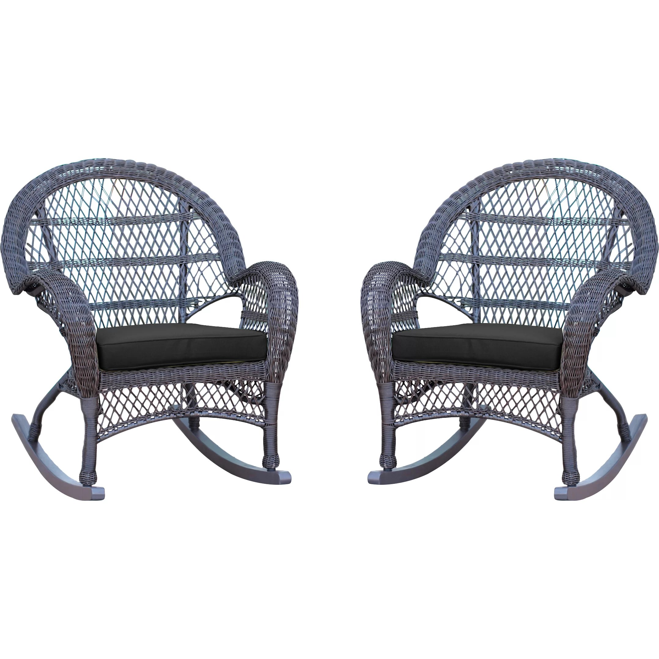 Black Wicker Rocking Chairs Jeco Inc Wicker Rocker Chair With Cushions And Reviews