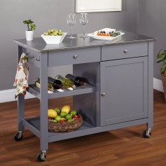 Kitchen Cart Stainless Steel French Country Table Tms Columbus Island With Top