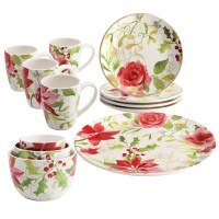 Paula Deen Holiday Floral Porcelain Complete Tabletop 12 ...