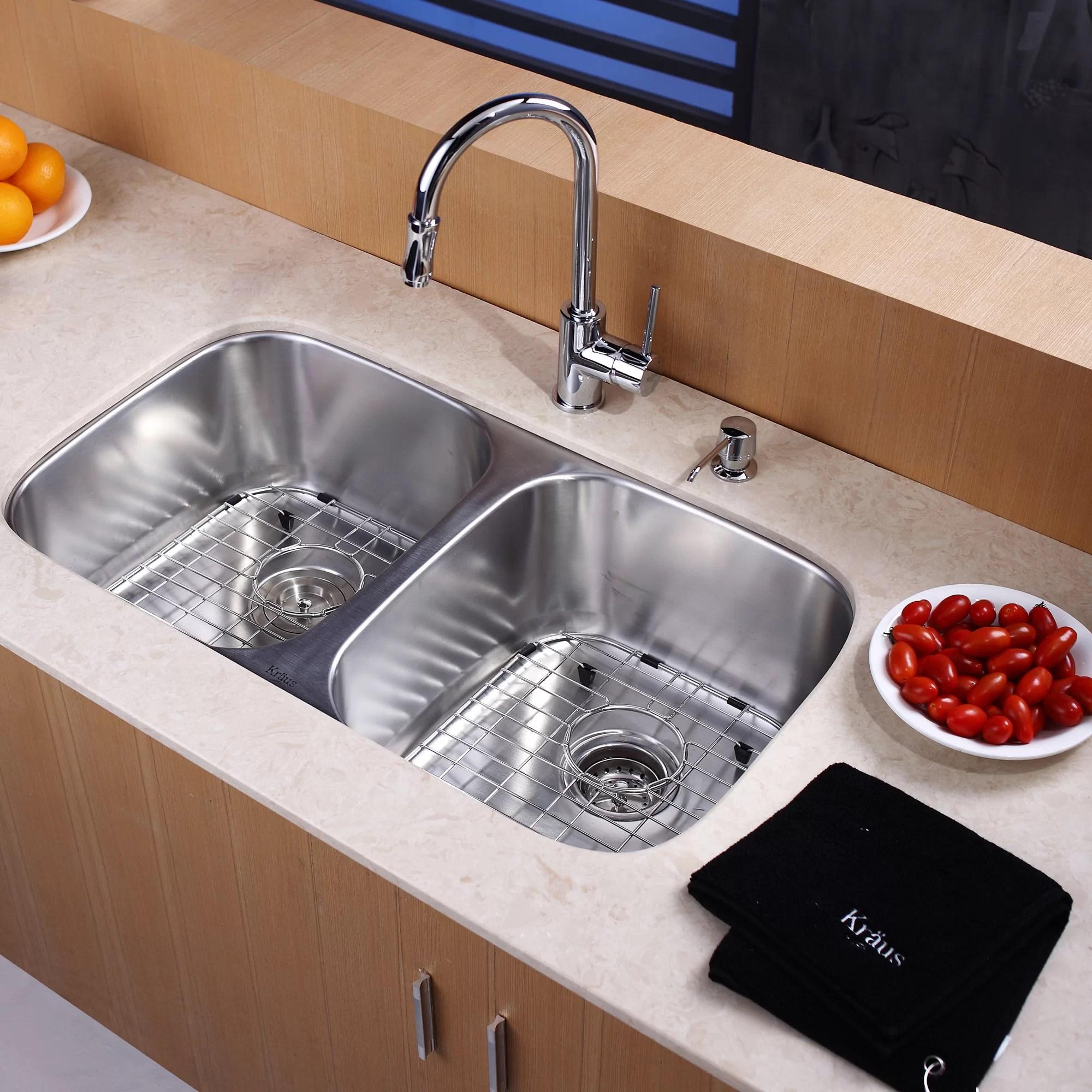 undermount double kitchen sink unfinished islands kraus 8 piece bowl set
