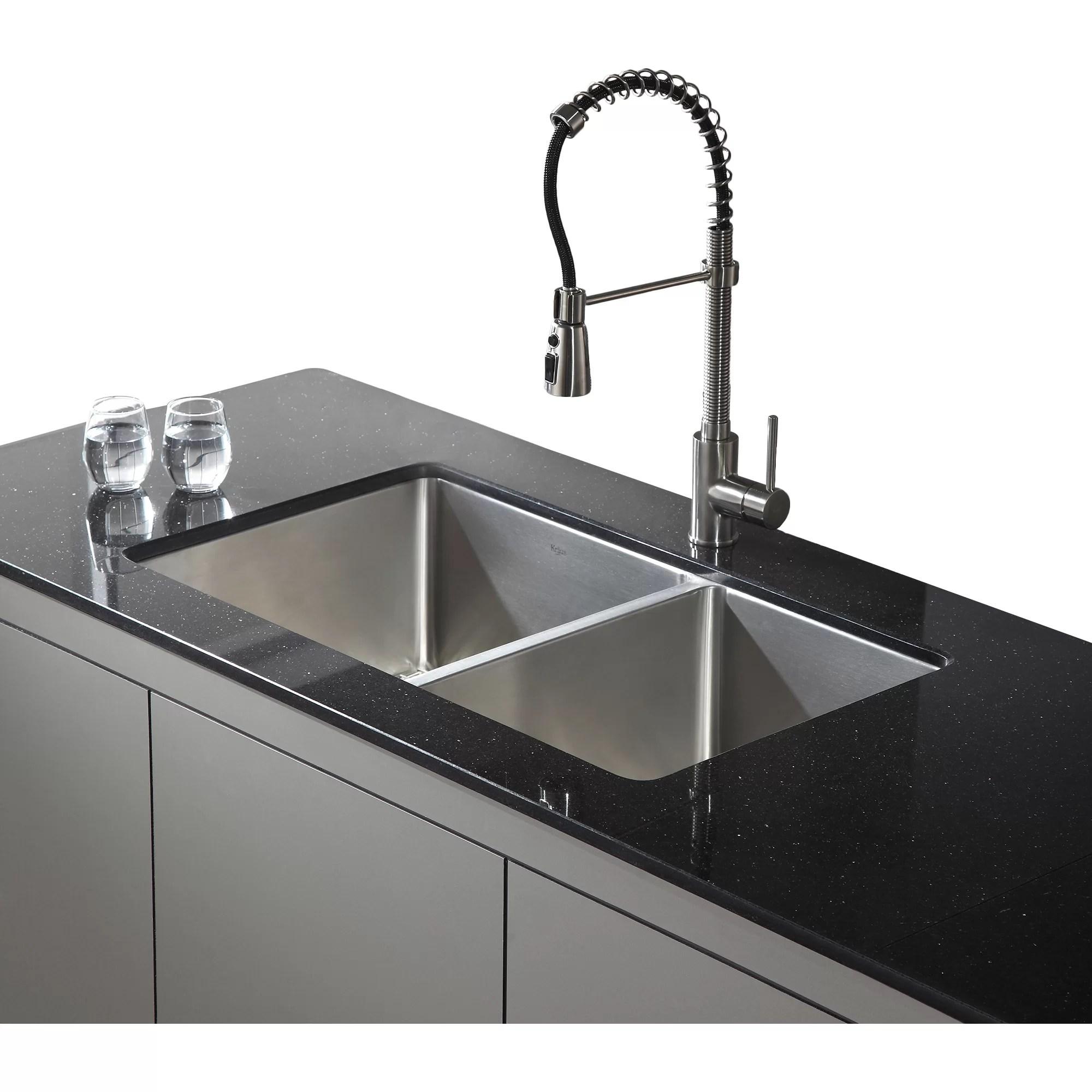 undermount double kitchen sink kohls mats kraus 32 75 quot x 19 6 piece bowl