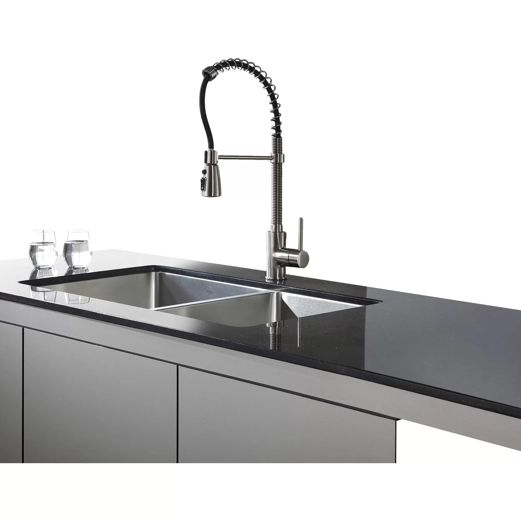 undermount double kitchen sink wall tile kraus 32 75 quot x 19 6 piece bowl