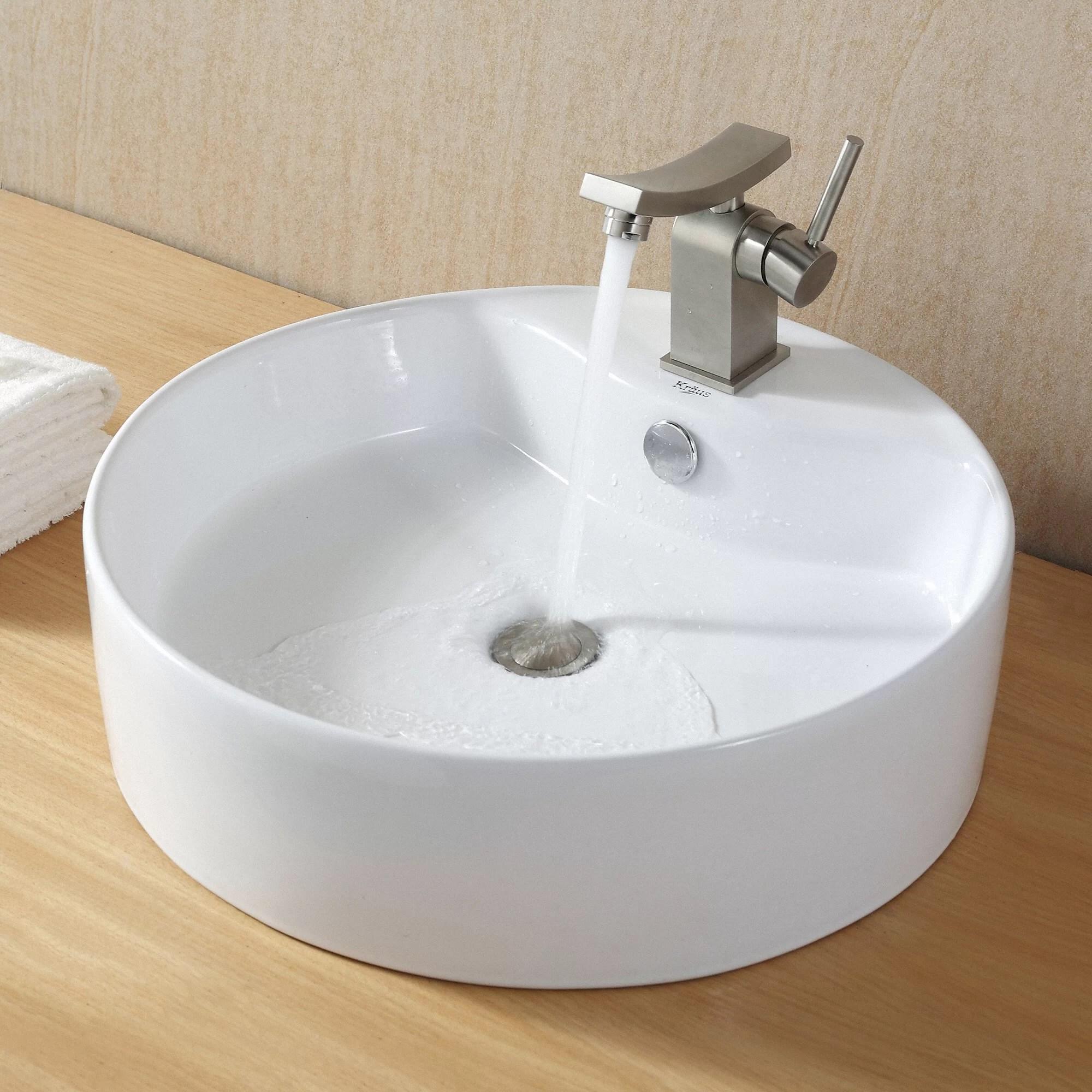 round kitchen sink wire rack kraus ceramic and reviews wayfair