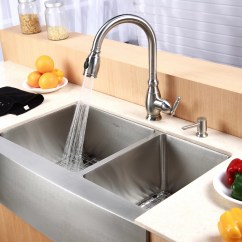 Double Kitchen Sink Dividers Cabinets Kraus Farmhouse 33 Quot 60 40 Bowl