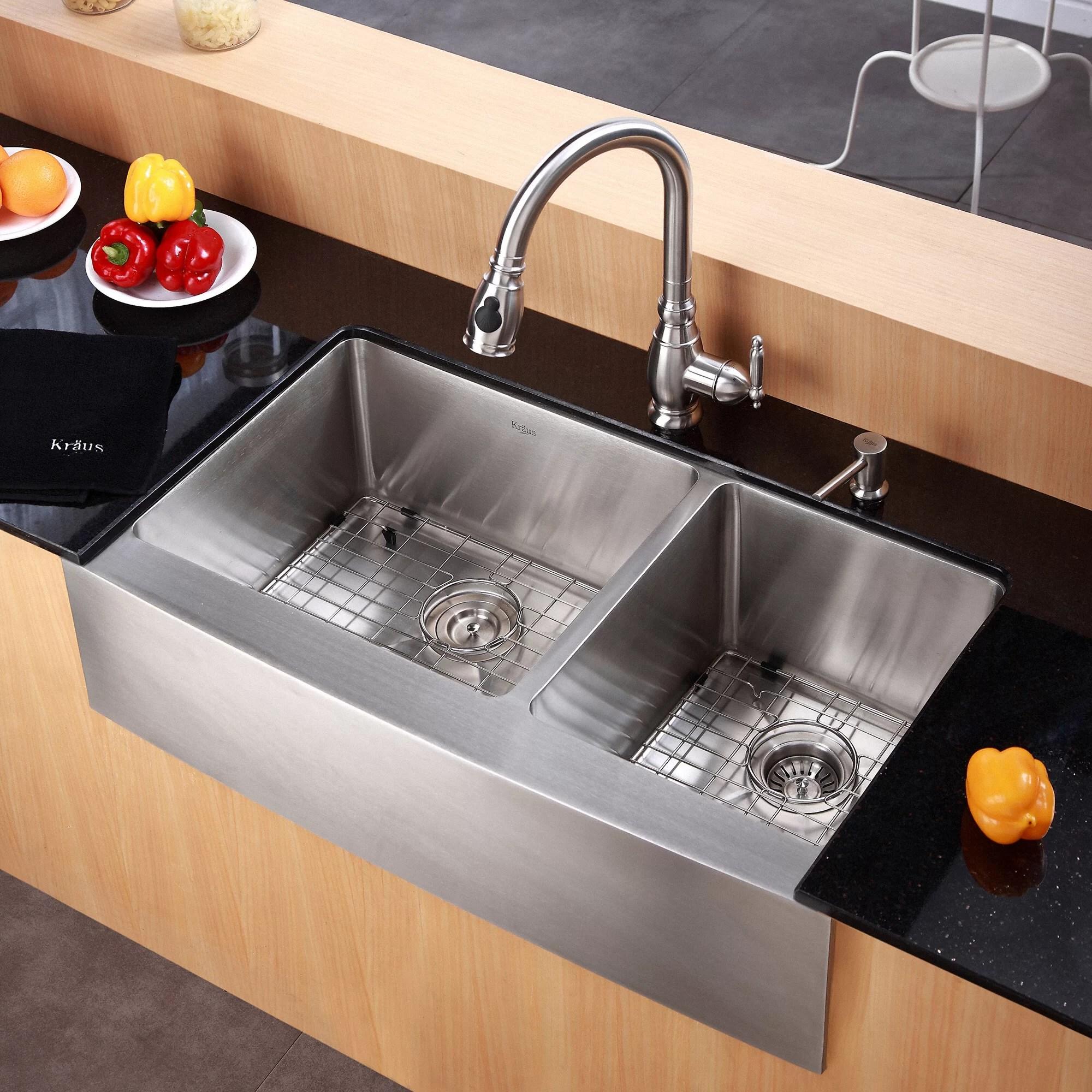 double bowl kitchen sink shelf kraus farmhouse 36 quot 60 40