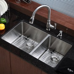 Undermount Kitchen Sink Wood Countertops Kraus 32 75 Quot X 19 Double Bowl